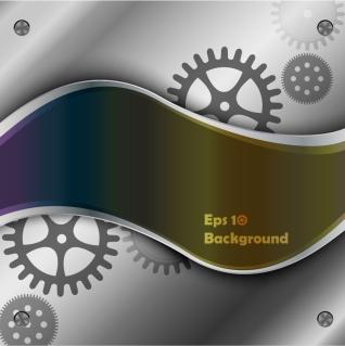 歯車と流線の背景 mechanical flow lines background イラスト素材
