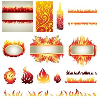 燃える炎の素材 Flame element vector イラスト素材