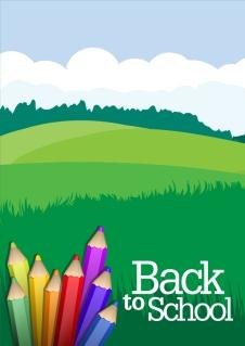 色鉛筆と草原の背景 colored pencils and grassland background イラスト素材