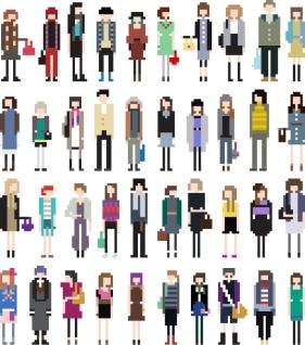 漫画風にキャラクターを描いたピクセル アート cartoon character pixel art イラスト素材