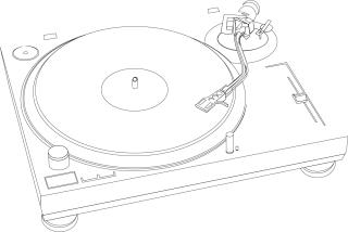 レコード プレーヤーの線画 music plastic disc player line drawing vector イラスト素材