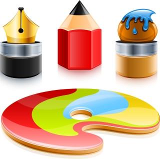 ペン先とカラー パレット Pen brush pencil color palette イラスト素材