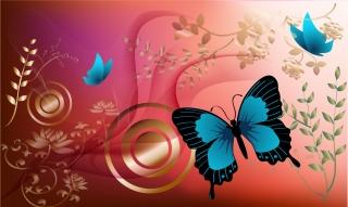 春の自然を舞う蝶の背景 butterfly vector art and nature spring イラスト素材