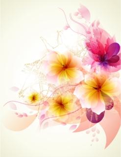ロマンチックに色をぼかした花の背景 romantic ink stains flower background イラスト素材