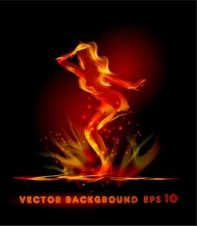 炎で表現したダンサーのポーズ Dancer posture dazzling flame イラスト素材