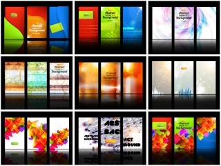 3分割にデザインした背景のセット abstract card backgrounds for your gift cards or business card designs イラスト素材