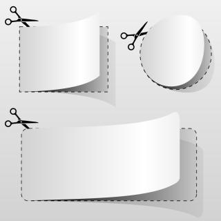 点線に沿って紙を切るハサミ scissors cut paper dotted line イラスト素材