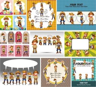 可愛い漫画のキャラクター ラベル見本 cute cartoon characters label vector イラスト素材1
