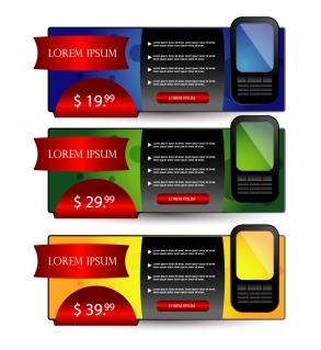 携帯電話をデザインしたウェブ バナー web banners arrows buttons keys cell phone イラスト素材