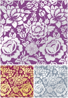 華やかな花柄の単色パターン monochrome floral patterns with decorative ornate flowers and leaves イラスト素材