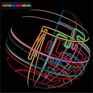 カラフルなフローラインの背景 dynamic flow lines color graphics イラスト素材