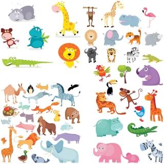 面白い動物の漫画 funny cartoon animals illustrations イラスト素材