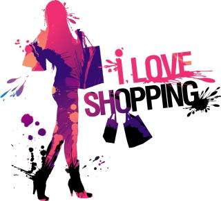インクの飛沫で描いたショッピングを楽しむ女性 ink splash fashion beauty shopping イラスト素材