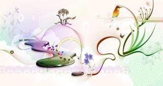 春をイメージした優雅な景色の背景 Free vector misc spring イラスト素材