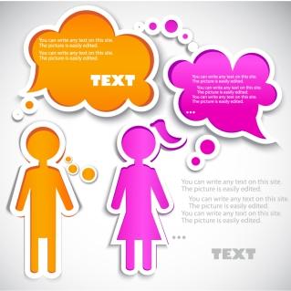 少年少女のラベルと吹き出し Cartoons boy & girl labels, dialog box イラスト素材
