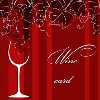 手書きの葡萄の葉とワインの背景 hand-painted grapes leaves silhouette red wine イラスト素材