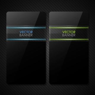 ガラス テクスチャのクールなバナー glass texture black cool banner イラスト素材