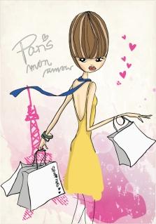 買い物袋を下げたお洒落な女性 Fashion shopping girl material イラスト素材