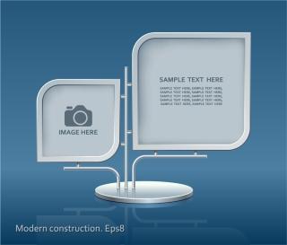 メタリックな写真フレーム metal material photo frames design イラスト素材