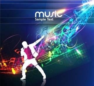 歌手のシルエットと音符の背景 trend of musical elements background イラスト素材