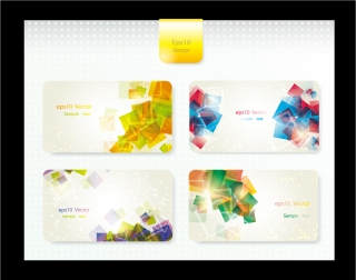 鮮やかな名刺テンプレート Dynamic brilliant business cards イラスト素材
