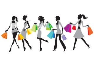 ショッピングを楽しむ女性のシルエット Fashion shopping silhouette イラスト素材