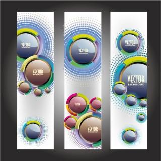 サークルを配置した縦バナー circle material vertical banner vector イラスト素材