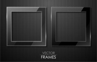 黒いガラス質感のフレーム black cool glass texture border イラスト素材