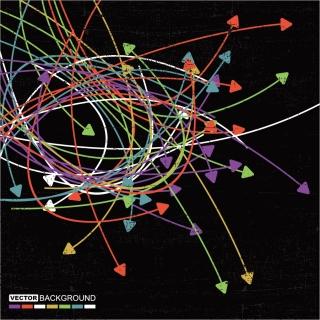 曲線が交わるカラフルな矢印の背景 color arrows wear flow lines background イラスト素材