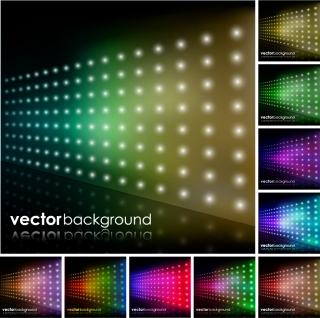 虹色に輝くLED照明の背景 brilliant rainbow color LED lightbulb background イラスト素材