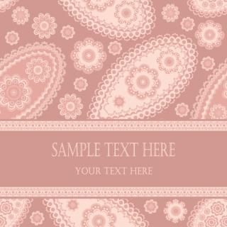 テキスト用帯のついたペイズリー柄の背景 beautiful pattern background vector イラスト素材