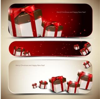 光沢のあるギフトボックスのバナー glossy gift boxes banner イラスト素材
