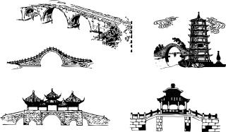 中国の伝統的なアーチ橋 chinese traditional architectural arch bridge イラスト素材