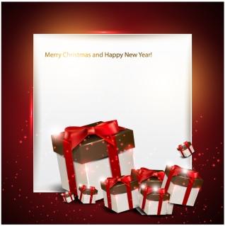 ギフト箱を配した光沢フレーム glossy frame gift boxes イラスト素材