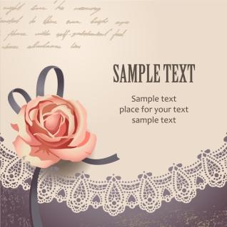 レースと薔薇飾りのテキストスペース vintage rose card text template イラスト素材