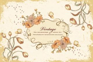 レトロな花柄の背景 retro flower pattern background イラスト素材