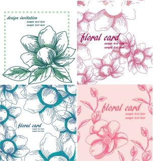手描き風の花びらパターン retro line draft of pattern イラスト素材