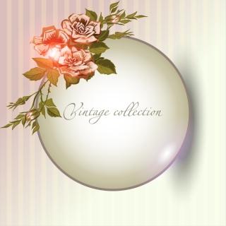花飾りの円形のテキストスペース beautiful flowers shading background イラスト素材