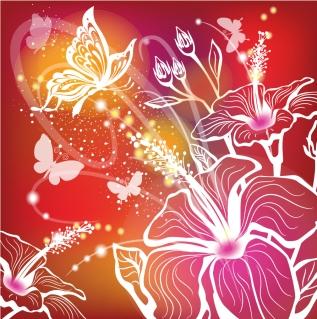 花と蝶のシルエットの背景 butterfly silhouette pattern colorful background イラスト素材