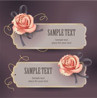 薔薇とリボンのバナー vintage rose card text template イラスト素材