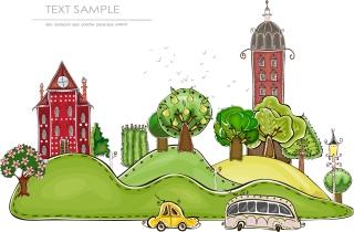 漫画風に町並みを描いた素材 cartoon city building elements vector イラスト素材