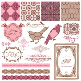 鳥のシルエットとレースパターンのボーダー romantic drawings lace pattern birds silhouette border イラスト素材