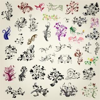 手描き風の植物柄のシルエット素材 Exquisite hand-painted flower silhouette pattern イラスト素材