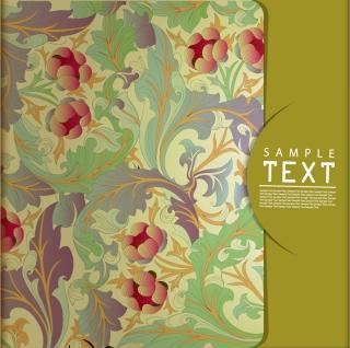古風な植物柄の表紙見本 Classic pattern background vector イラスト素材