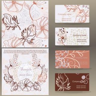 お洒落な葉のパターンのビジネスカード leaves pattern business card イラスト素材