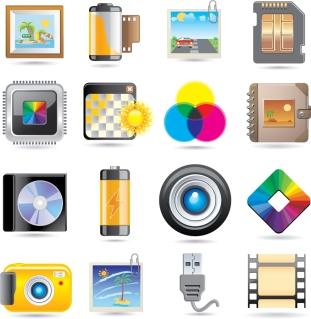 写真関連のアイコン camera film icon material イラスト素材