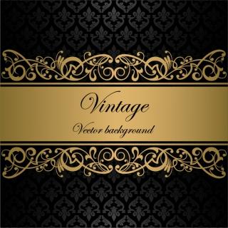 クラシックな金色の帯付き表紙見本 Classic pattern lace borders background イラスト素材