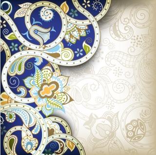 レトロなヨーロッパ調の華やかな背景 retro european ornate background イラスト素材