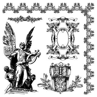 古代彫刻の飾り罫 Ancient carved ornaments materials イラスト素材