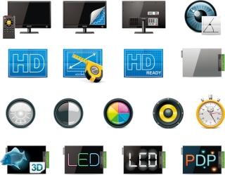 ディスプレイ パネル関連のアイコンled display panels technology icon イラスト素材